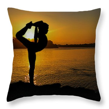 Early Morning Exercise Throw Pillow by Robert Hebert