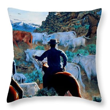 Early Morning Roundup Throw Pillow