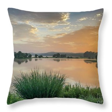Early Morning Sunrise On The Lake Throw Pillow