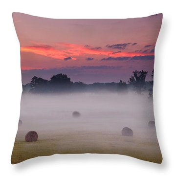Throw Pillow featuring the photograph Early Morning Sunrise On The Natchez Trace Parkway In Mississippi by T Lowry Wilson