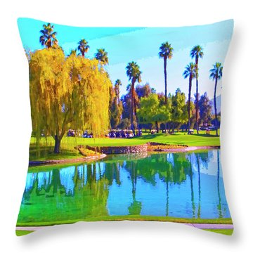 Early Morning Tee Time Throw Pillow by Dominic Piperata