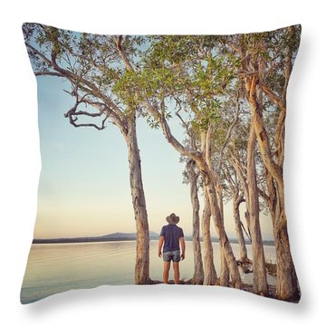 Throw Pillow featuring the photograph Early Morning Tranquility Down By The Lake by Keiran Lusk