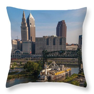 Early Morning Transport On The Cuyahoga River Throw Pillow