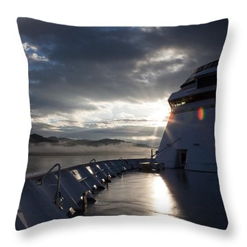 Early Morning Travel To Alaska Throw Pillow by Yvette Van Teeffelen