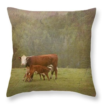 Early Morning Breakfast-cow Style Throw Pillow