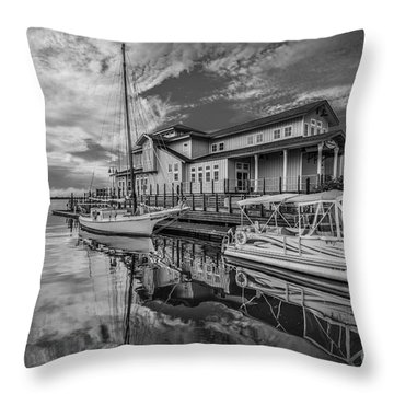 Early Sailing - Black And White Throw Pillow by Mina Isaac
