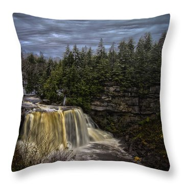 Early Snow At Black Water Falls Throw Pillow