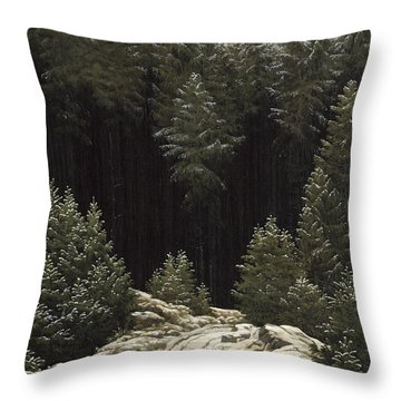 Early Snow Throw Pillow by Caspar David Friedrich