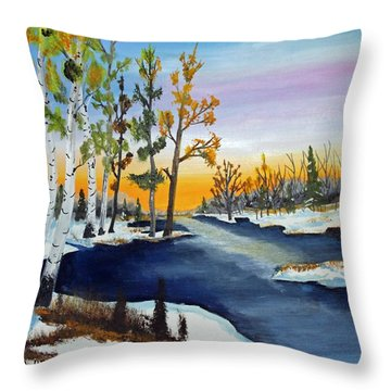 Early Snow Fall Throw Pillow