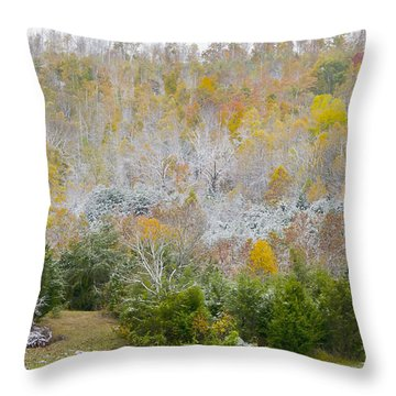 Throw Pillow featuring the photograph Early Snow Fall by Wanda Krack