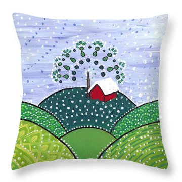 Early Snow On The Little Red Barn Throw Pillow