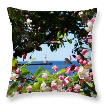 Early Spring Blossoms At The Waterfront Throw Pillow