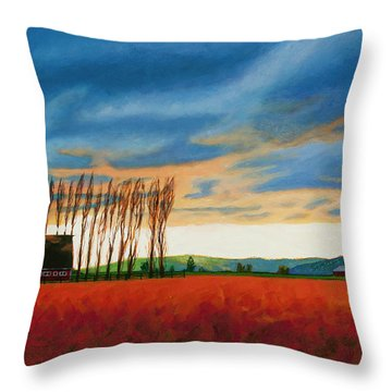 Early Spring, Skagit Valley Throw Pillow