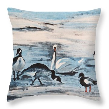 Early Spring Thaw With Ducks And Geese Throw Pillow