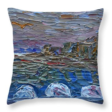 Throw Pillow featuring the painting Early Winter In New Jersey by Vadim Levin