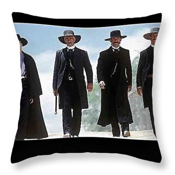 Earp Brothers And Doc Holliday Approaching O.k. Corral Tombstone Movie Mescal Az 1993-2015 Throw Pillow