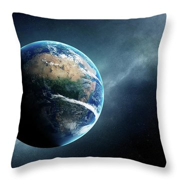 Earth And Moon Space View Throw Pillow