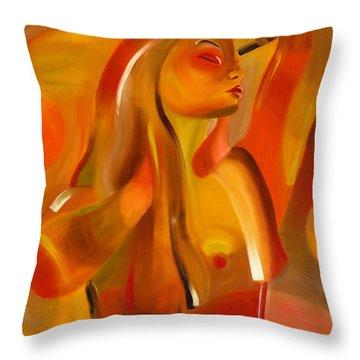 Earth-coloured Throw Pillow by Hakon Soreide