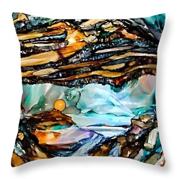 Earth Day Underground Paradise Alcohol Inks Throw Pillow