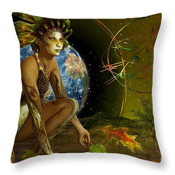 Throw Pillow featuring the digital art Earth Elemental by Shadowlea Is