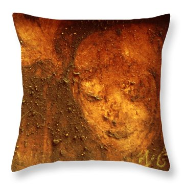Throw Pillow featuring the painting Earth Face by Winsome Gunning