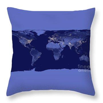 Earth From Space Throw Pillow by Delphimages Photo Creations
