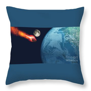 Earth Hit By Asteroid Throw Pillow by Corey Ford