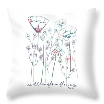 Throw Pillow featuring the digital art Earth Laughs In Flowers by Heather Applegate