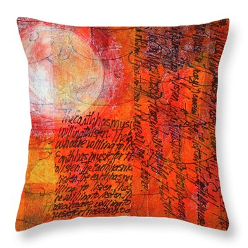 Throw Pillow featuring the mixed media Earth Music by Nancy Merkle