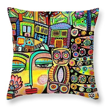 Earth Owl Goddess Throw Pillow
