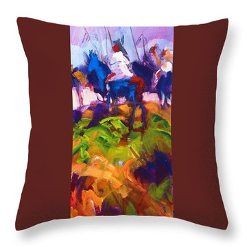Throw Pillow featuring the painting Earth People by Les Leffingwell