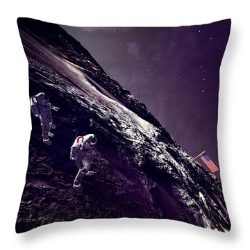 Throw Pillow featuring the digital art Earth Rise On The Moon by Methune Hively