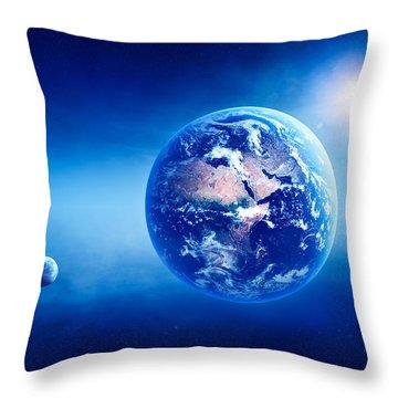 Earth Sunrise Deep Space Throw Pillow