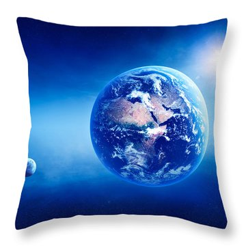 Earth Sunrise Deep Space Throw Pillow