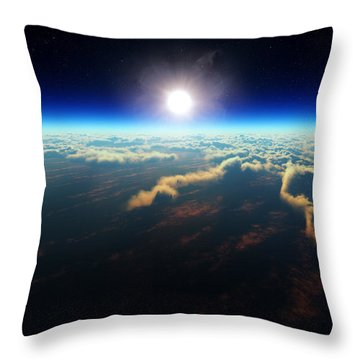 Earth Sunrise From Outer Space Throw Pillow