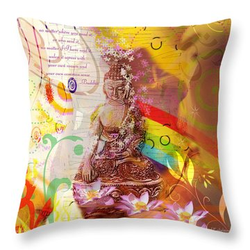 Earth Touching Buddha Throw Pillow