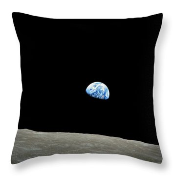 Earthrise - The Original Apollo 8 Color Photograph Throw Pillow by Nasa