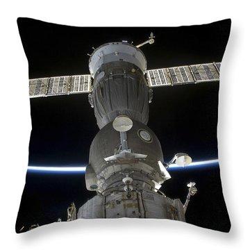 Earths Limb Intersects A Soyuz Throw Pillow by Stocktrek Images