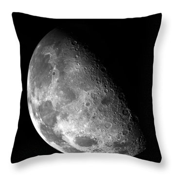 Earth's Moon In Black And White Throw Pillow by Jennifer Rondinelli Reilly - Fine Art Photography