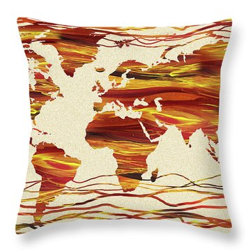 Earthy Lines World Map Abstract Throw Pillow