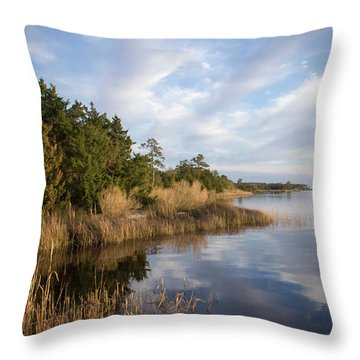 East Bank Looking South At Sunset Throw Pillow