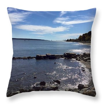 East End Beach Portland, Maine, October 2015 Throw Pillow by Patricia E Sundik