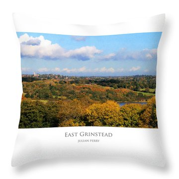 Throw Pillow featuring the digital art East Grinstead by Julian Perry