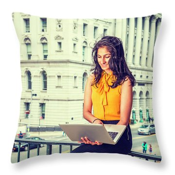 East Indian American Businesswoman In New York Throw Pillow