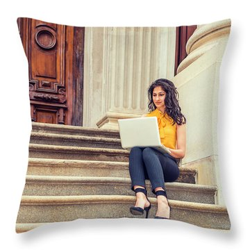 East Indian American College Student Studying In New York Throw Pillow