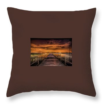 East Lake Pier Topaz Throw Pillow