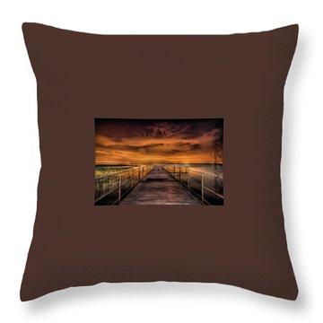East Lake Pier Topaz Throw Pillow