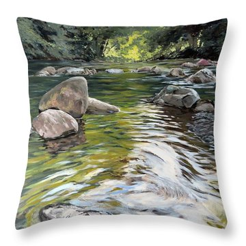 Throw Pillow featuring the painting East Okement River by Lawrence Dyer