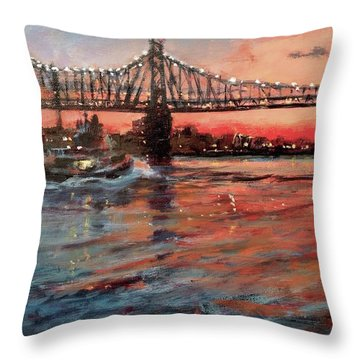 East River Tugboats Throw Pillow by Peter Salwen