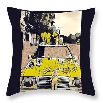 East Side Electric Throw Pillow